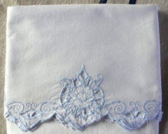 BIG SALE - Vintage Bolster Pillowcase with Soft Blue Cutwork - Soft Cotton - Farmhouse Style - Country Living - White Bedding - Vintage Line