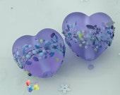 Lampwork Beads Sea Glass Purple Batik Heart, glass hearts, handmade, blossom, glass hearts, lavender, valentine, sea glass, seaglass etched