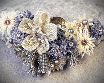 Wedding Hair Piece - princess wedding - Bridal hair piece - Floral hairpiece - bridal hair clip - bridal hairpiece - Wedding Hairpiece