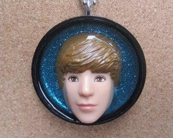Justin Bieber - upcycled plastic bottle cap pendant - blue