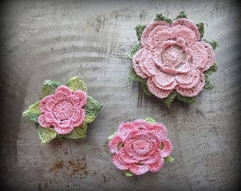 Miniatures, Crochet Lace Pebbles, Pink, Green, Table Decorations, Flowers, Small, Collection of 3, Handmade, Original, Monicaj