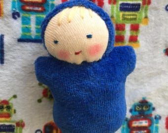 small blue doll, Waldorf doll, ready to ship doll, stocking stuffer, miniature doll, natural fiber baby, handmade baby