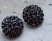 FREE SHIPPING Vintage Black Rhinestone Clip Earrings