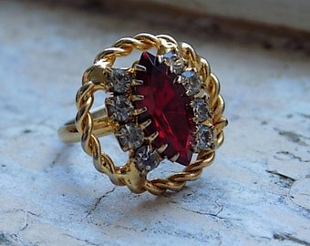 FREE SHIPPING Vintage Red Rhinestone Cocktail Ring - Adjustable Band
