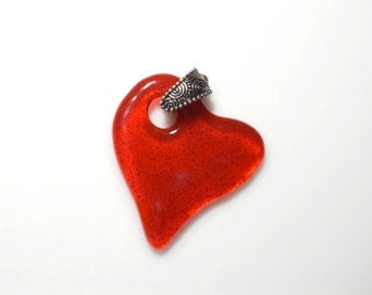 Valentines Day Large Bright Red Fused Glass Off Center Heart  On A Silver Plated Necklace