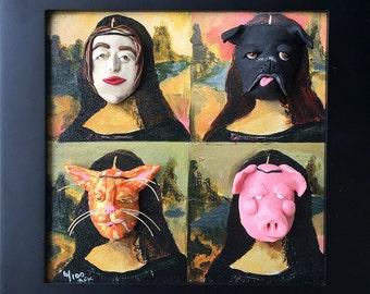 Funny Mona Lisa Art - Clay on Canvas Mixed Media Art - 3D Framed Sculptural Art - Cat Art - Pig Art - Black Pug Art - Gift for Animal Lover