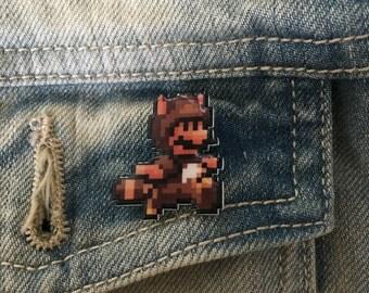 SALE wanna buy a squirrel - super mario 3 tanooki pin
