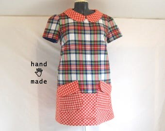 SALE -- Mod Plaid MashUp dress -- plus size, size 16 -- peter pan collar, pockets, wool, lined -- 46B-42W-49H