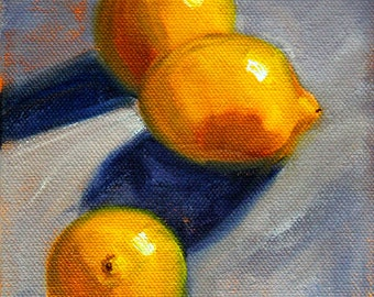 Tropical Fruit, Still Life, Oil Painting, Small 5x7, Stretched Canvas, Kitchen Wall Decor, Original, Lemon Citrus, Food Art, Gray Yellow