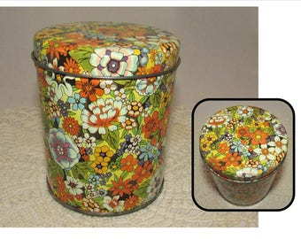 Vintage Small Tea Tin with lid, Colorful Floral design, storage container, flowers