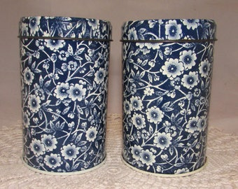 Vintage Tin Salt & Pepper Shakers, Blue White Calico design by Crownford China Co., England, floral, flowers