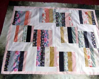 quilt top, handmade, Moda fabric, 40 by 50, scrappy, cotton fabric, eclectic collection of prints, ready to finish