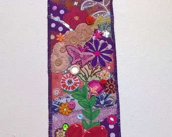 Pink Butterflyl Textile Art Wallhanging - Embellished decorative wall art