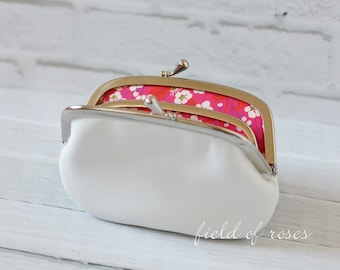 Women's White Leather Frame Wallet with Divider Liberty of London  2 Section 2 compartment