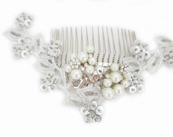 Wedding Silver Lace Headpiece, Bridal Comb with lace sequin, Pearl Wedding Comb, Bridal Hair Comb Pearl Large Hairpiece, Ivory Pearl, KATIA