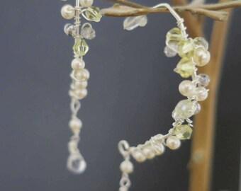 Pearl Crystal Earrings Sterling Silver Wedding Jewelry for Bridesmaids Pale Yellow Soft Grey Crystal Ivory Pearl Teardrop Bridal Earrings