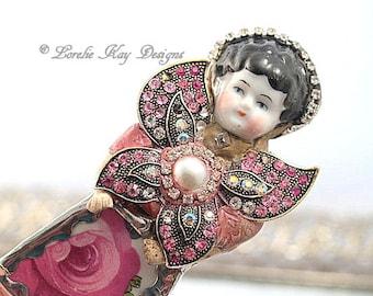 Papillion Doll Brooch Ornament Broken China Art Doll Flowers Mixed Media Soldered Rhinestone Girl Broach