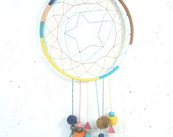 Vintage dream catcher, colorful star dreamcatcher with pom poms and wood beads, bright colors, colorful dreamcatcher