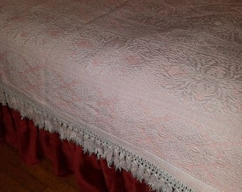 Vintage Bellissimo Pink and White Bedspread Mid Century Italy