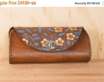 JANUARY SALE Leather Clutch - Handmade in Tooled Floral Leather in Blue and Brown - Leather Purse, Clutch, Wristlet, or Waist Bag