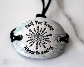 A Bracelet for the Snowflakes Ceramic Bracelet in Crackle