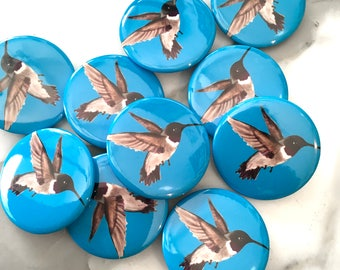 Hummingbird Pin Back Button