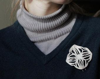 Hand Pierced Floral Brass Brooch