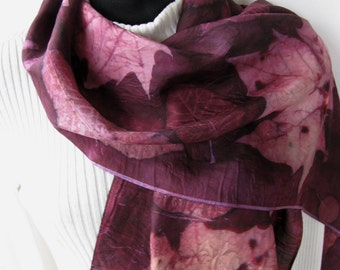 Hand Dyed Silk Scarf for Women Unique Gift for her Unique scarf Leaf Print Scarf Eco dyed Scarf Maroon Scarf Sycamore leaves womens fashion