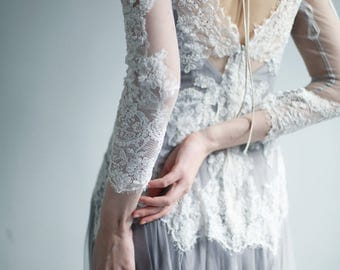 Sample Sale Dyed Gray Two-Piece ivory lace and tulle wedding gown