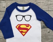 SALE Boys Top 3/4 Sleeve T Shirt Royal Blue Superman Modern Glasses Size 2 24mos 24 months