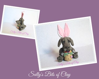 Blue Great Dane Easter Bunny dog with basket of eggs OOAK Clay art by Sallys Bits of Clay