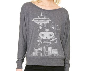 Seattle Kitty  Ladies' Flowy Long-Sleeve Off Shoulder T-Shirt