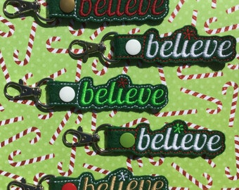 Believe Key Chain, Embroidered Key Fob, Keychain