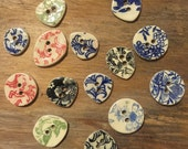 FREE SHIPPING Set of 14 Handmade Assorted Ceramic Buttons