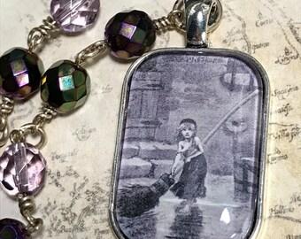 Les Misérables  Altered art Necklace,  Glass Dome pendant, handmade, art charms
