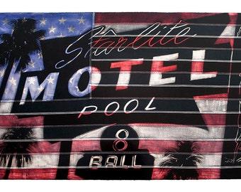 Starlite Motel Giclee with Screenprint high gloss