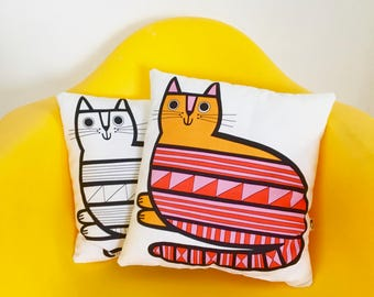 "New 14"" retro cat cushion  - fully stuffed  - by Jane Foster  - geometric cat fabric Scandi design"