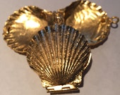 "Vintage scallop locket pendant heavy gold tone metal - pair of two 1.75"" diameter"