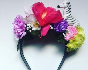 Flower Floral Head Dress Head Band zebra Animal zoo Toy Festival