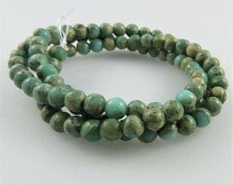 4mm Aqua Terra Jasper Beads, Full Strand