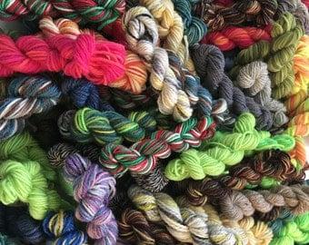 Luxury Sock Yarn Mini Skein Grab Bag - 100+ Yards Total, FREE shipping!