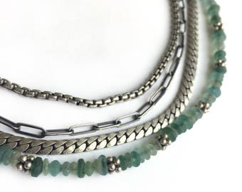 Necklace Sterling Silver Ancient Roman Glass Bead Multichain Bali Bead Adjustable Length Boho One of a Kind 18 Inch