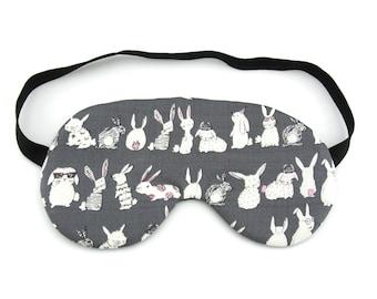Little Cheeky Rabbits on Grey Sleep Eye Mask, Sleeping Mask, Travel Mask, Sleep Mask, Travel Gift, Gift for her