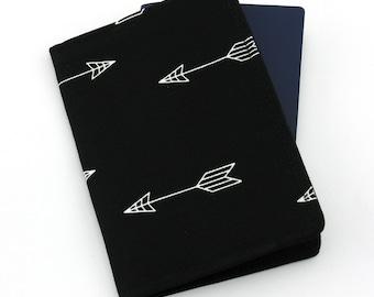 White Arrows on Black Passport Holder, Passport Cover, Passport Wallet, Passport Case, Travel Gift