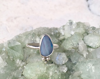 OPAL SHAKTI RING // size 7 sterling silver // made to your size in byron bay // genuine australian opal