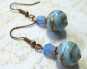 Venetian glass bead earrings, blue and gold. Take 50% 0ff.