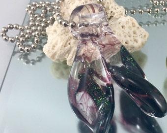 Lampwork mermaid tail, glass whale tail, dichroic mermaid tail pendant, fish tail pendant, big hole bead, ocean jewelry, artisan glass