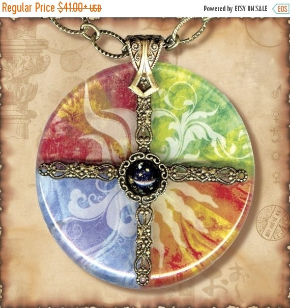 Earth, Water, Air, Fire Charm Glass Necklace - Symbolz- The Ancient Mysteries Collection -  The Four Elements