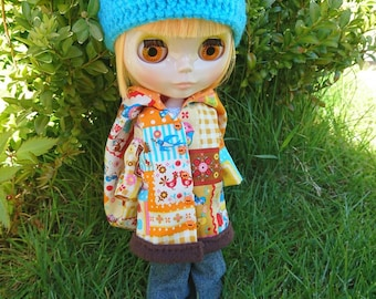 Matryoshka Patchwork Orange Mix Hooded Blythe Doll Coat