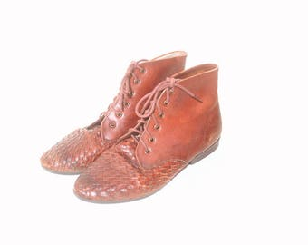 Vintage 1990s Brown Woven Karen Scoot Lace Up Ankle Boots size 7 and a half M